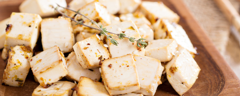 Baked marinated tofu with herbs and spices