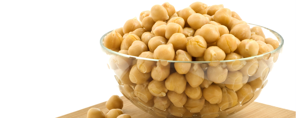 Chick peas in glass dish