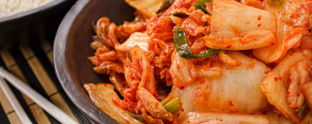 A bowl of traditional Korean kimchi.
