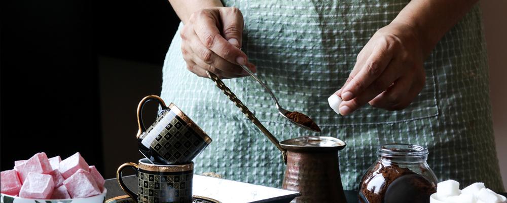 Making Turkish coffee and Turkish delight