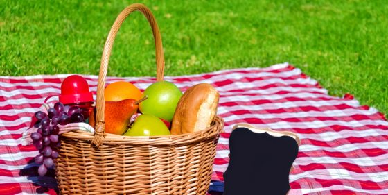 Picnic basket with fruits