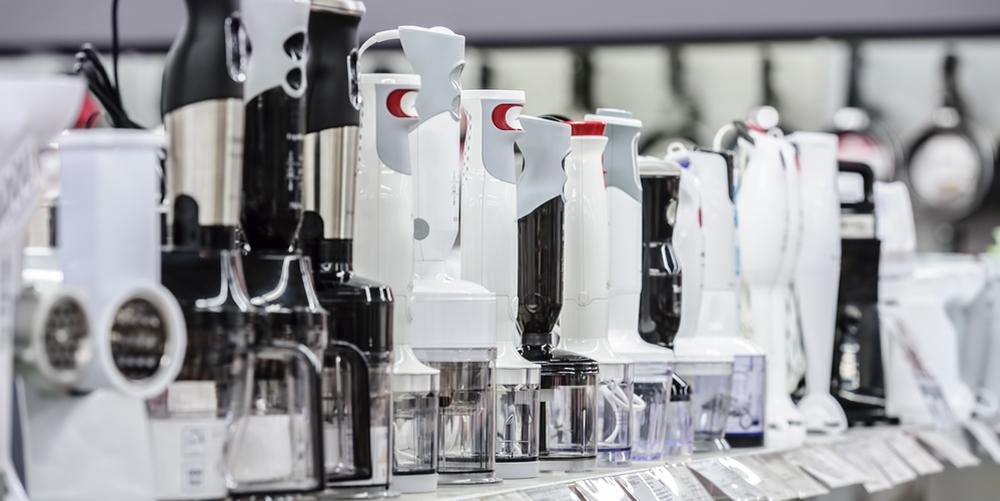 Row of variety blenders in retail store