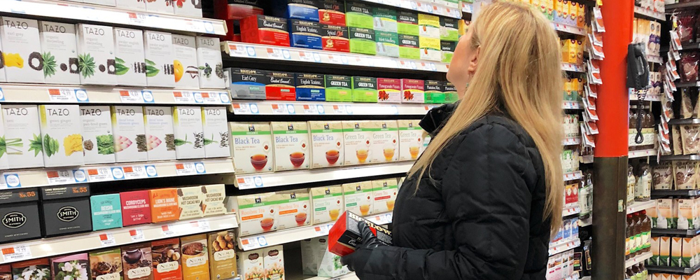 Choosing from a vast selection of tea