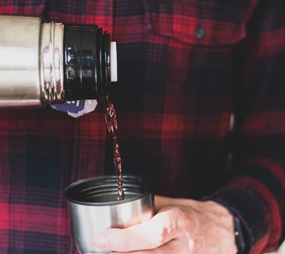 Pouring coffee from thermos