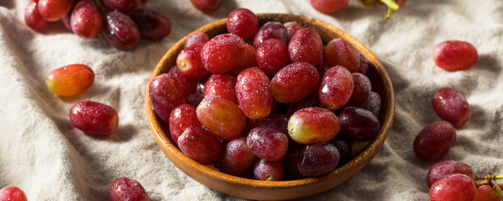 Raw Organic Red Grapes in a Bowl Ready to Eat