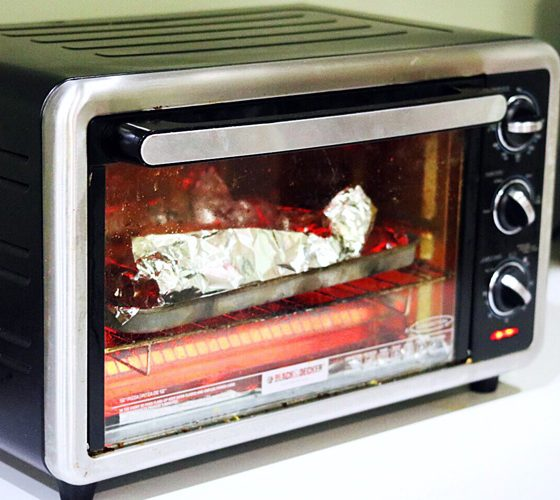 Toaster Oven with food inside