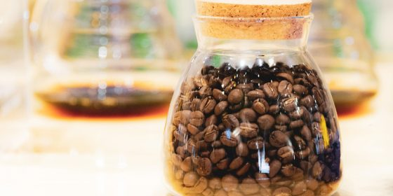 Coffee beans in a glass container