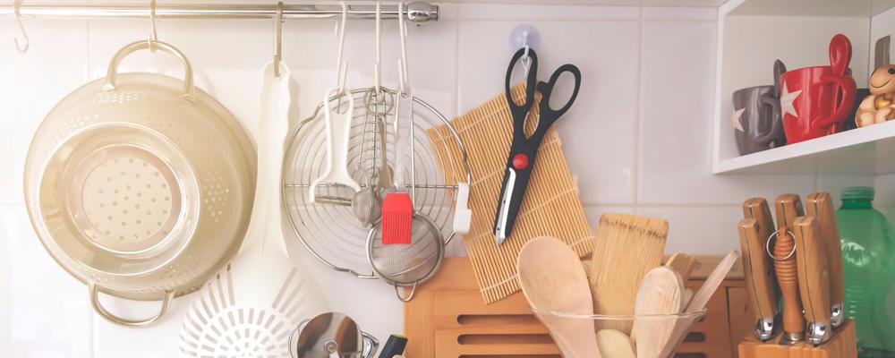 kitchen corner with various cooking utensils